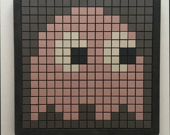 Pink Ghost ceramic mosaic wall panel in solid timber frame