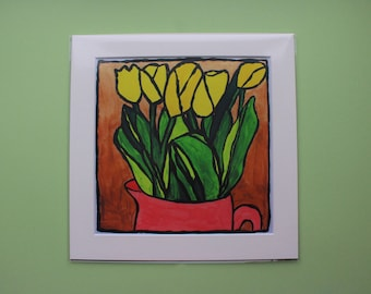 Yellow Tulips, Bold, Colourful, Print