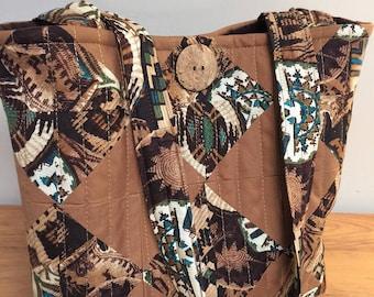 Brown Aztec Quilted Handbag
