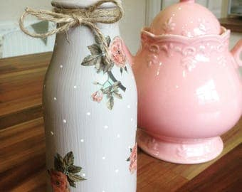 Painted jar milk bottle