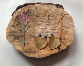 Bronze hammered hearts with lapis accent