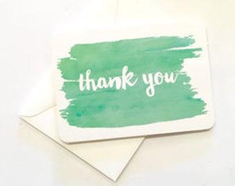 Little Paper Lane- Green Watercolour Thank-You card set