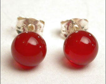 Carnelian 6mm Round Studs Earrings - Sterling Silver