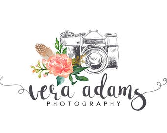 Photography logo design, watercolor logo design, floral watercolor logo, photographer logo, branding template, flower logo, instant download