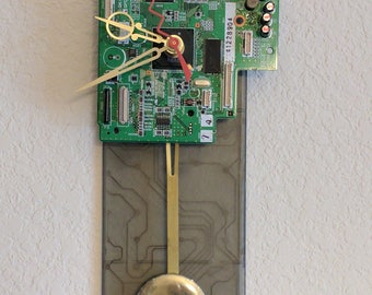Circuit Board Wall Clock with Pendulum, Upcycled, Recycled, Geek Gift