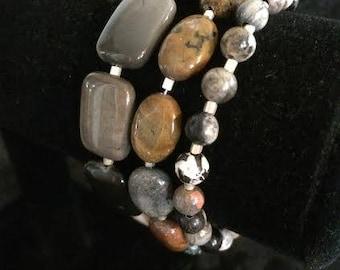 Triple Strand Natural Stones