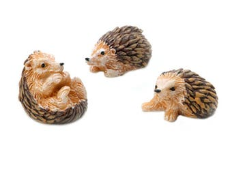 "Hedgehogs, Set of Three, 1.25"" x 1"" - Resin - Hedgehog Miniature Fairy Garden Dollhouse"