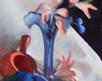 Original 11x14 Oil Painting Pink Blue Flowers Vase Academic Impressionist Still Life
