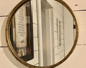 Gold Rustic Round Mirror