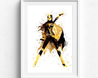 Batgirl poster, batgirl art print, batgirl wall art, superhero wall art, kids room decor, childrens wall art, art for children, kids gift
