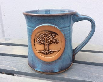 Tree of Life Mug Handmade stoneware mug. Blue