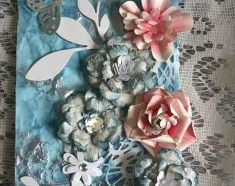 Pink and blue mixed media gift tag