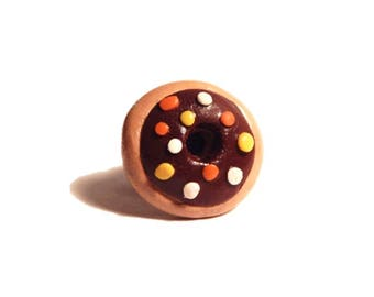 Chocolate Sprinkle Donut Pin - Lapel Pin- Clay Brooch