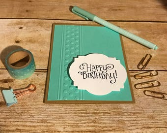 Blue Embossed Polka Dot Birthday Card
