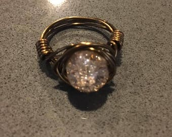 Brass wire wrapped ring with champagne/clear glass bead Size 6.5