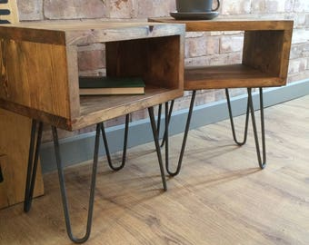 Rustic Industrial Retro Side Table with Hairpin Legs