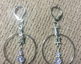 Charmed Earrings, Hoop Earrings, Lavender Hoop Earrings
