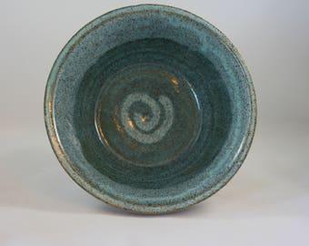 2 Toned Blue Wheel Thrown Bowl