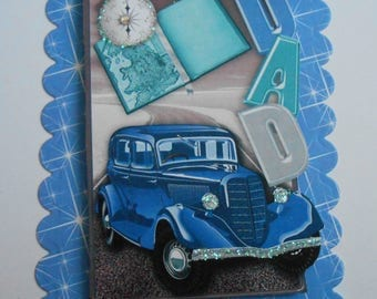 Pack 2 Blue Car Dad Embellishment Toppers for cards and crafts