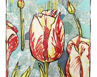 original mixed media flower series digital art (tulip)