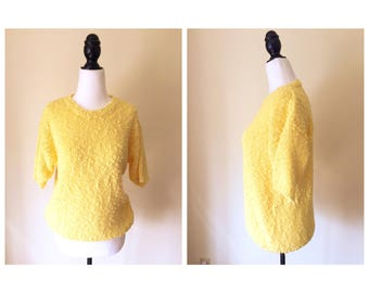 1980's Bright Yellow Knit Sweater/Jumper Short Sleeved, Spring Summer, Size S/M