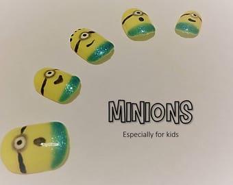 Petite | Kids | Minions Inspired | False Nails | Press On | Gel Nail Art