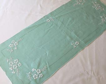 Vintage Green Linen Dresser Scarf / Table Runner / Doily with White Embroidery
