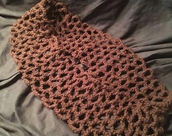 Brown hexagon mesh scarf