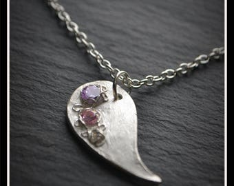 Silver 'Paisley' CZ Pendant - Silver Precious Metal Clay (PMC), Handmade, Necklace - (Product Code: ACM072-17)