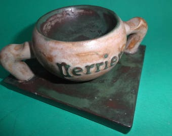 Perrier Advertising Pottery, Perrier Sparkling Water Ashtray, Pottery Cup