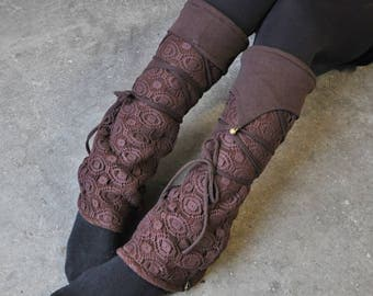 Warmly Lined Leg Warmers, Boot Cuffs ~ with Lacing and Brass Bells ~ Cotton, Fleece ~ brown