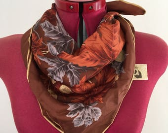 Vintage scarf - brown & gold autumn pattern