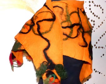 Felt shawl Orange