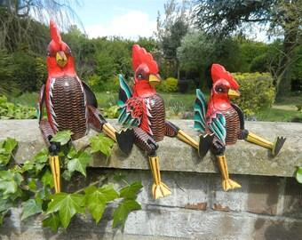 Wooden Chicken Carving - Sitting Shelf Sitter Chicken Ornament - Chicken 25cm