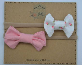 Pink and rose headbands  - Headband set - nylon headbands - baby headbands set