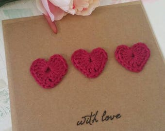 Crochet heart with love greeting card blank card wedding engagement card