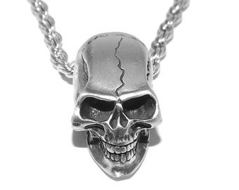 Chunky Pewter Gothic Human Skull Pendant Necklace with Chain