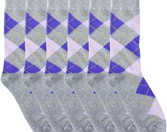 Ivory + Mason Groomsmen Socks Kit -  Light Grey Purple Argyle - Premium Cotton - 6 Pairs