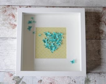 Handmade paper turquoise butterflies in a heart box framed decoration