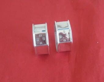 Lovely Vintage Pair of Sterling Silver Hexagonal Napkin Rings - 1986
