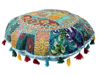 Maniona Turquoise Pom Pom Patchwork Gypsy Roundies Handmade Round Floor Cushion Cover pouf,pouffe,Moroccan pouf,ottoman,floor Indian cushion