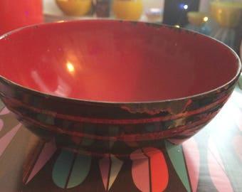 Black red CATHRINEHOLM bowl, Saturn pattern, enamelware Norway vintage