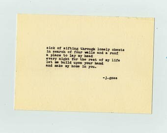 "Typewriter Poetry Print: ""sick of sifting through lonely chests"""