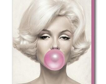 Marilyn Monroe Pink Bubble Gum Canvas Wall Art Print - Various Sizes