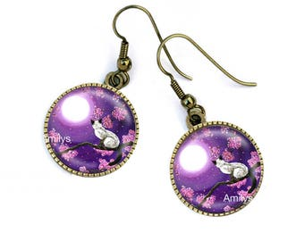 Siamese cats earrings sunset, mauve, purple, mother's day. R56
