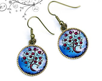 Tree of life blue and Red cabochons earrings