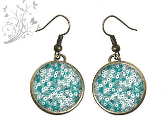 Small liberty flowers on earrings cabochons, blue, cabochon resin. R132