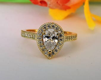 14k Solid Yellow Gold Engagement and Promise Ring, Wedding and Anniversary Ring.