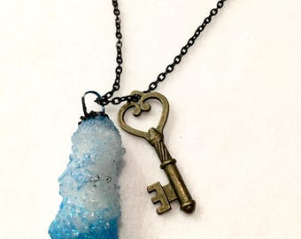 Handmade Crystal Pendant Necklace with Key Charm