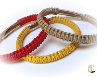 Waxed thread and 5mm leather cord bracelet